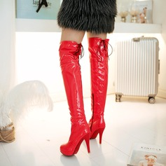 Women's Patent Leather Stiletto Heel Platform Over The Knee Boots shoes (088094526)