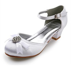 Women's Satin Low Heel Closed Toe Flats With Bowknot Rhinestone