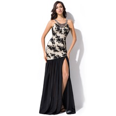 Trumpet/Mermaid Scoop Neck Floor-Length Chiffon Prom Dress With Beading Sequins Split Front