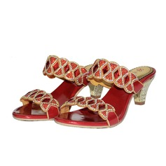 Women's Leatherette Chunky Heel Sandals With Rhinestone