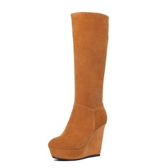 Real Leather Wedge Heel Knee High Boots shoes
