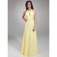 A-Line/Princess Halter Floor-Length Chiffon Prom Dress With Ruffle Beading Appliques Lace