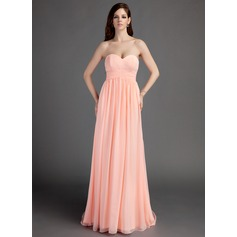 Empire Sweetheart Sweep Train Chiffon Bridesmaid Dress With Ruffle