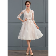 A-Line/Princess V-neck Knee-Length Tulle Wedding Dress With Bow(s) (002134808)