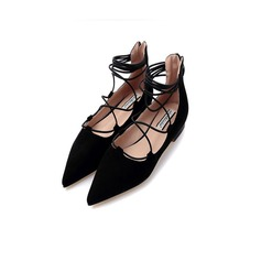 Women's Suede Flat Heel Flats Closed Toe With Braided Strap shoes