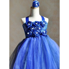 Ball Gown Ankle-length Flower Girl Dress - Tulle/Dacron Straps With Beading/Flower(s)