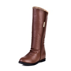 Leatherette Low Heel Mid-Calf Boots shoes