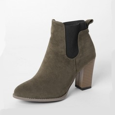 Women's Suede Chunky Heel Ankle Boots Martin Boots With Split Joint shoes