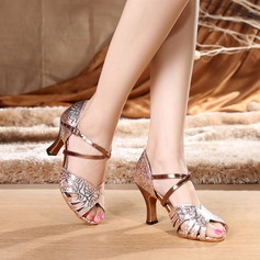 Women's Leatherette Patent Leather Heels Sandals Latin With Ankle Strap Dance Shoes