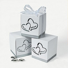 Heart Cut–outs Cubic Favor Boxes With Ribbons (Set of 12)