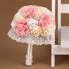 Sweet Round Satin/Lace Bridal Bouquets
