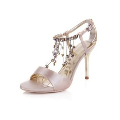 Satin Stiletto Heel Sandals Pumps With Rhinestone Tassel shoes