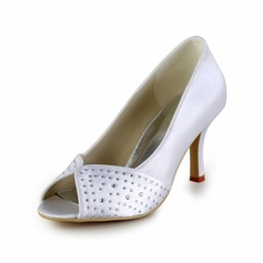 Satin Cone Heel Peep Toe Pumps Wedding Shoes With Rhinestone (047026393)