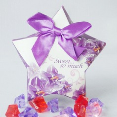 Floral Design Favor Boxes With Bow (Set of 10)