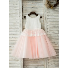 A-Line/Princess Knee-length Flower Girl Dress - Tulle/Cotton Sleeveless Scoop Neck With Lace