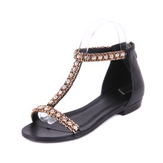 Real Leather Flat Heel Sandals Flats With Rhinestone Chain (087024974)