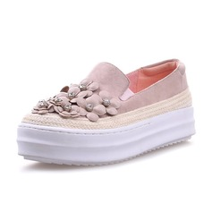 Women's Real Leather Flat Heel Platform Closed Toe With Flower shoes