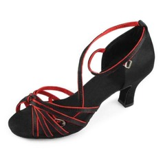 Satin Heels Sandals Latin Dance Shoes With Ankle Strap (053006995)