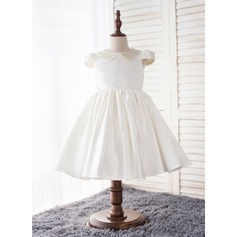 A-Line/Princess Knee-length Flower Girl Dress - Chinlon 1/2 Sleeves Peter Pan Collar With Rhinestone