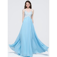 Empire Sweetheart Floor-Length Chiffon Prom Dress With Beading Sequins
