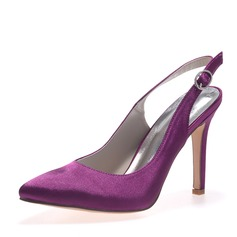 Women's Satin Stiletto Heel Closed Toe Pumps Slingbacks With Buckle
