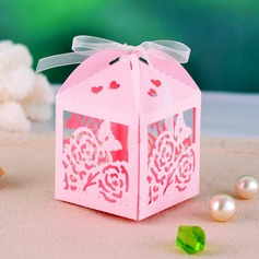 Floral Cut Out Cubic Favor Boxes With Ribbons (Set of 12)
