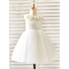Ball Gown Knee-length Flower Girl Dress - Tulle Sleeveless Peter Pan Collar With Beading