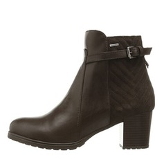 Women's Real Leather Chunky Heel Closed Toe Boots Ankle Boots shoes