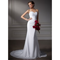 Trumpet/Mermaid Sweetheart Court Train Chiffon Wedding Dress With Ruffle Beading