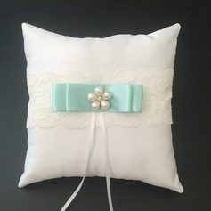 Chic Ring Pillow in Satin/Lace With Ribbons/Faux Pearl
