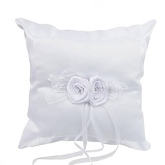 Elegant Ring Pillow in Satin With Rhinestones Flowers