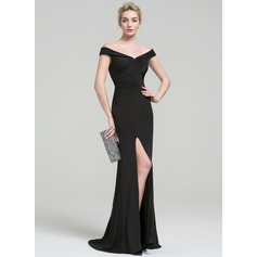 Sheath/Column Off-the-Shoulder Sweep Train Jersey Evening Dress With Ruffle Split Front