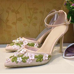Women's Leatherette Stiletto Heel Pumps With Buckle Flower Braided Strap shoes