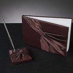 Chocolate Satin Sash Guestbook/Pen Set