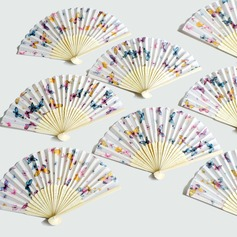 Butterfly Theme Bamboo/Cotton Hand fan (Set of 4)