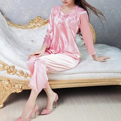 Comfortable Artificial Silk Feminine Sleepwear(Including Uppers and Shorts)