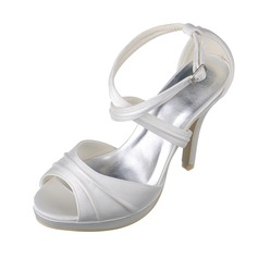 Women's Satin Peep Toe Platform Sandals With Buckle Ruched