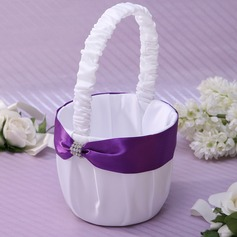Classic Beautiful Flower Basket in Satin With Sash