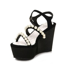 Suede Wedge Heel Sandals With Imitation Pearl shoes