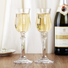 Personalized Double Hearts Glass Toasting Flutes