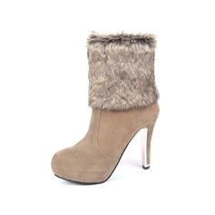 Women's Leatherette Stiletto Heel Mid-Calf Boots With Fur shoes