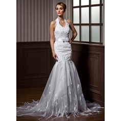 Trumpet/Mermaid Halter Court Train Organza Wedding Dress With Beading Bow(s)