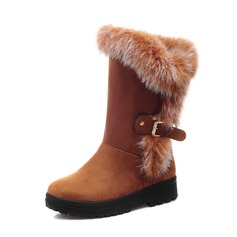 Suede Low Heel Flats Closed Toe Mid-Calf Boots Snow Boots With Feather Buckle shoes