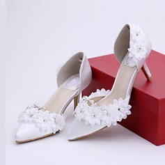 Women's Leatherette Stiletto Heel Closed Toe Pumps With Flower Lace-up