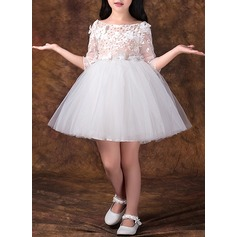 A-Line/Princess Short/Mini Flower Girl Dress - Tulle/Lace 3/4 Sleeves Scoop Neck With Beading/Flower(s)/Bow(s)