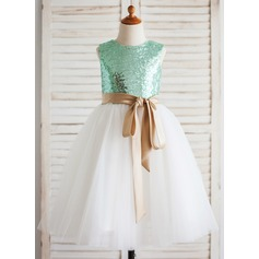 A-Line/Princess Tea-length Flower Girl Dress - Tulle/Sequined Sleeveless Scoop Neck With Sash