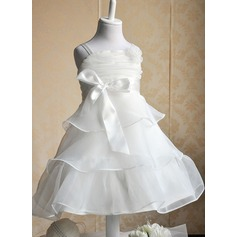 Ball Gown Tea-length Flower Girl Dress - Tribute silk/CVC Sleeveless Straps With Flower(s)/Bow(s)