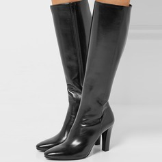 Women's Real Leather Stiletto Heel Pumps Boots With Zipper shoes