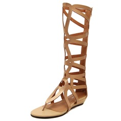 Leatherette Wedge Heel Sandals Wedges Mid-Calf Boots With Zipper Hollow-out shoes