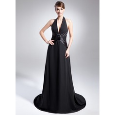 A-Line/Princess Halter Court Train Chiffon Holiday Dress
